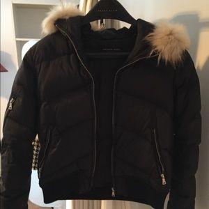 Black Andrew Marc puffy coat fur hood trim size M